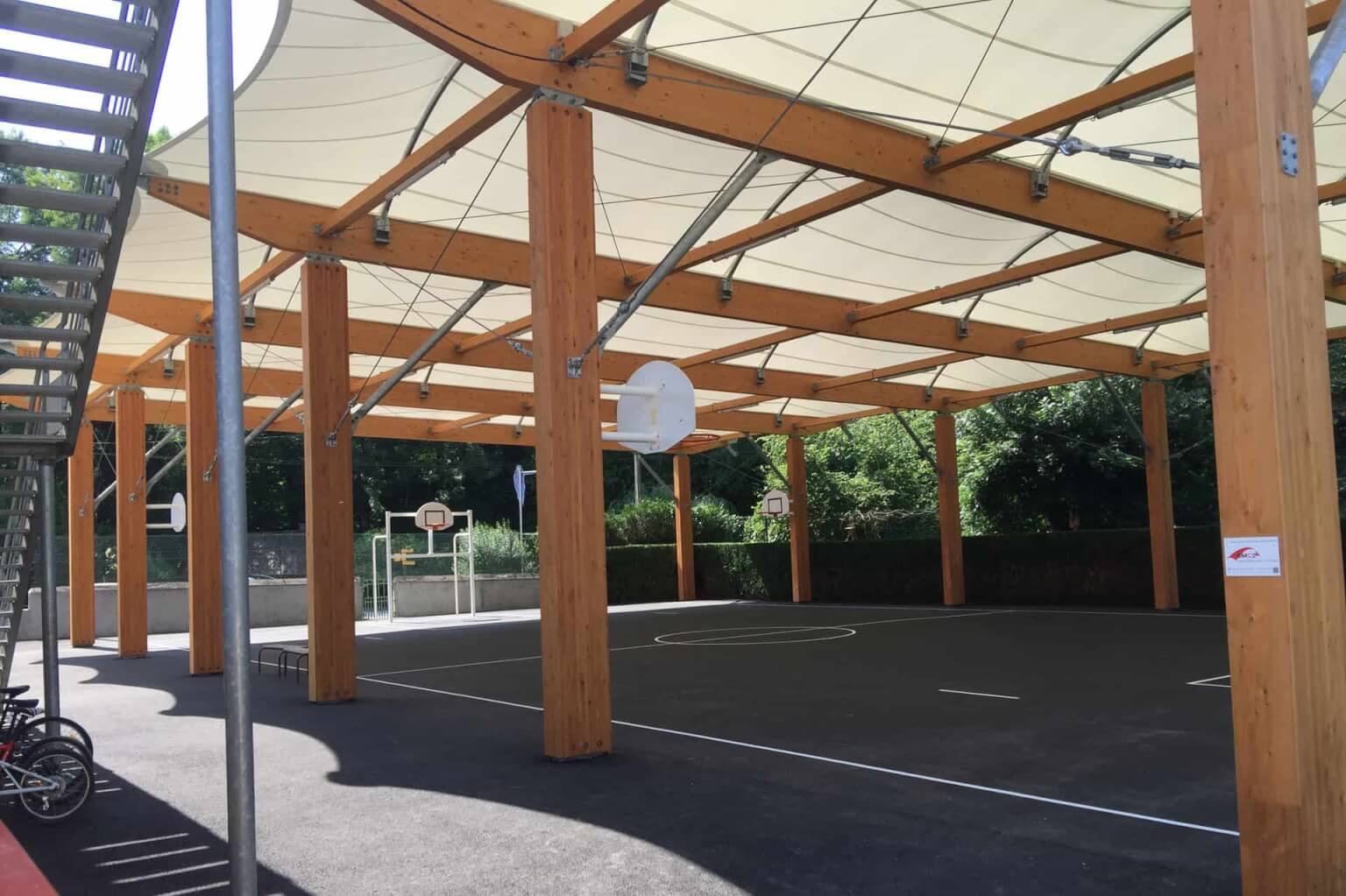 WOODEN CONSTRUCTION TIMBER FRAME TENSILE FABRIC STRUCTURE